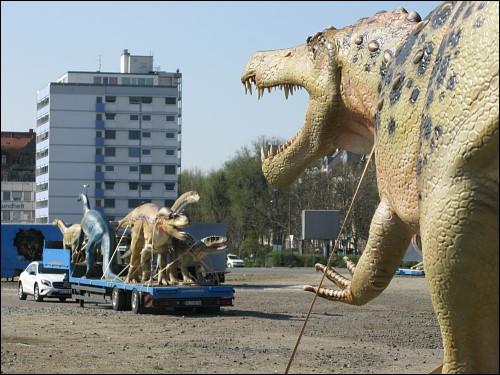 mobiler Dino-Zirkus vor der Weiterreise
