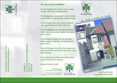 Der neue Flyer für das FürthWiki (Außenseite)
