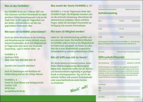 Der neue Flyer für das FürthWiki (Innenseite)