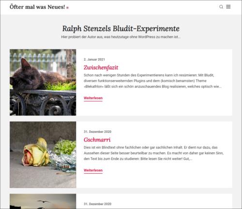 Screenshot Bludit-Testblog