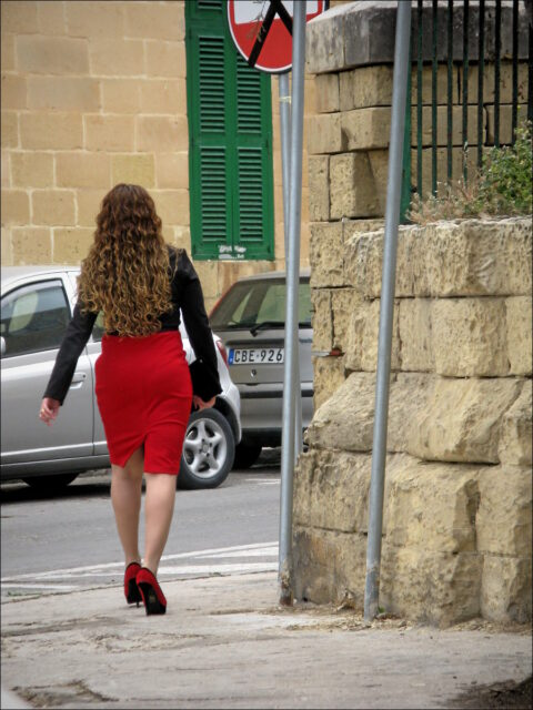 Rotberockte in Valetta (Malta), April 2013